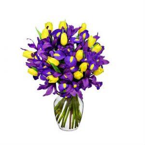 Arreglo Floral con Tulipanes e Iris