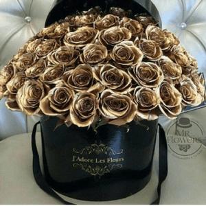 Caja con 100 Rosas Doradas