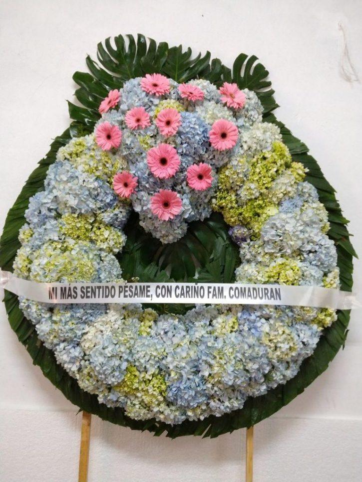 Corona Mediana con Gerbera y hortensia